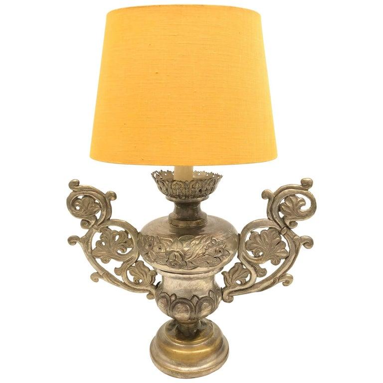 Converted European Altar Vase Lamp, Mid-18th Century For Sale