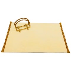Gold-Plated Faux Bamboo Letter Holder and Desktop Pad by Jolle Bronze