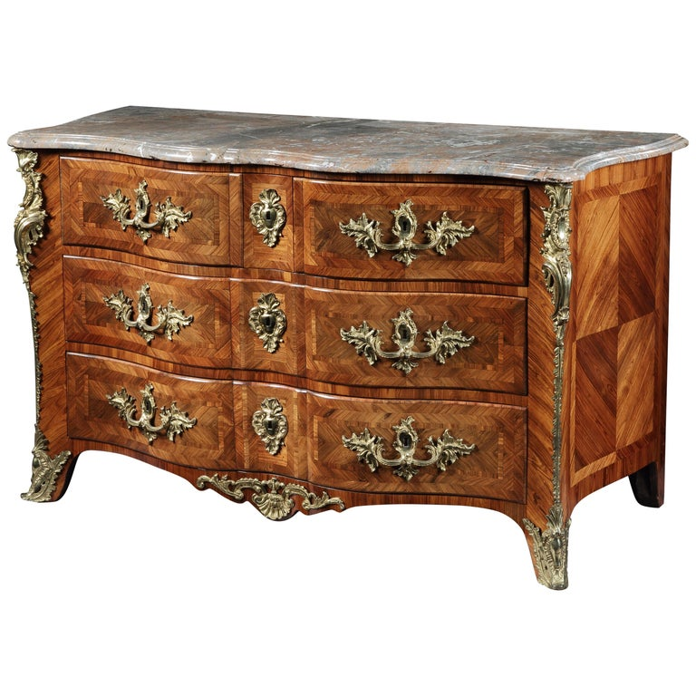 18th Century French Louis XV Parquetry Commode with Gilt Bronze Mounts