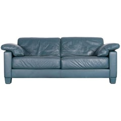 De Sede DS 17 Designer Green Blue Leather Two-Seat Couch