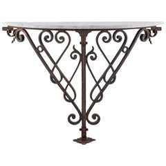 Demilune Console with Faux Marble Top