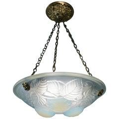 French Opaline Glass Art Deco Chandelier