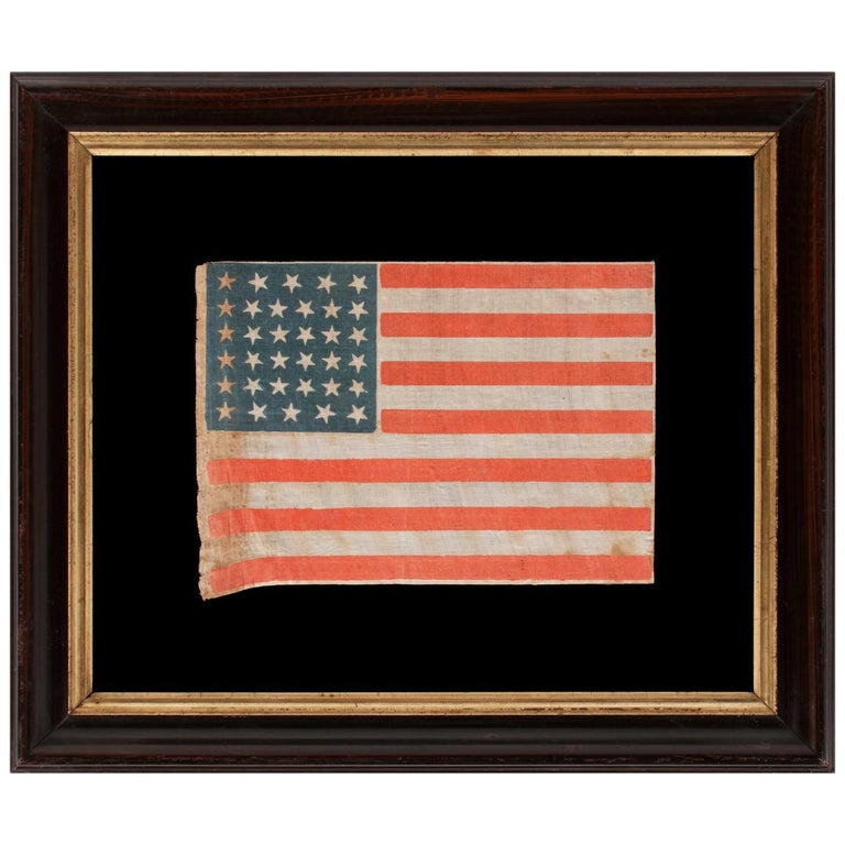 34 Stars, With Scatters Positioning, on an Antique American Parade Flag For Sale