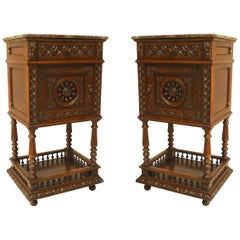 Pair of French Provincial Brittany Style Bedside Commodes