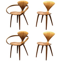 Norman Cherner Midcentury Plycraft Dining Chairs, Set of Four