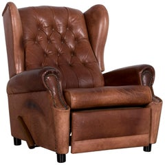 Chesterfield Leather Armchair Brown One-Seat Vintage Retro with Relax Function