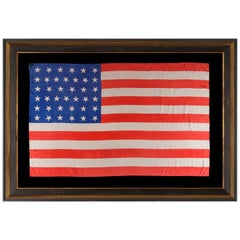 38 Dancing Stars on a Silk Antique American Parade Flag