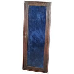 Old English Blue Velvet Lined Oak Display Collectors Cabinet with Original Key