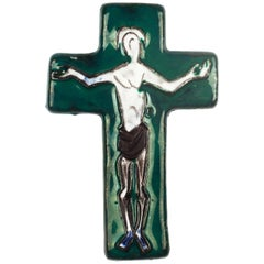 Wall Cross, Green, Brown, Black Painted Ceramic, Handmade in Belgium, 1970s