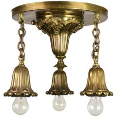 Cast Brass Three-Light Bare Bulb Flush Mount