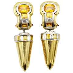 Pair of Yellow Sapphire and Diamond Earrings, 18-Carat Yellow Gold