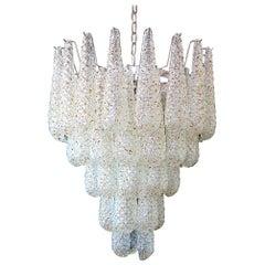 Huge Italian Vintage Murano Chandelier, 52 Trasparent / Caramel Glass Petals
