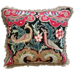 Cushion of Mid-18th Century French Needlework with a Black Ground