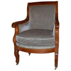 Louis Philippe I Gentleman's Armchair in Scalamandre Silk Velvet circa 1830-1848