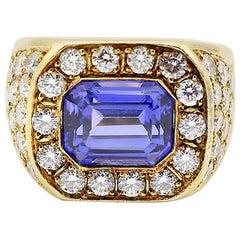 7.4 Carat Tanzanite and Diamond Ring, 18 Carat Yellow Gold
