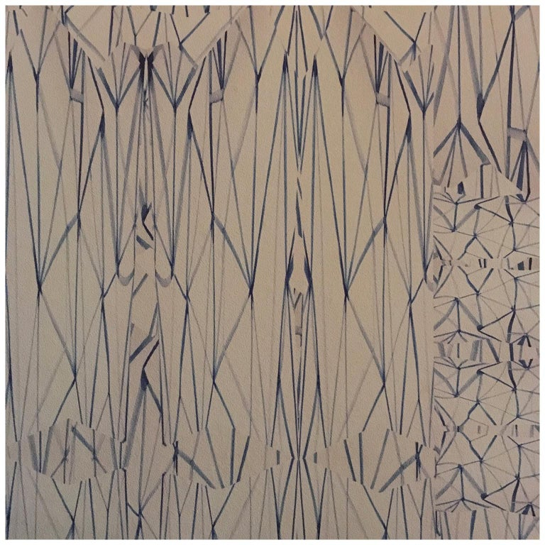 Contemporary Geometric Abstract White Blu Handcrafted Wallpaper