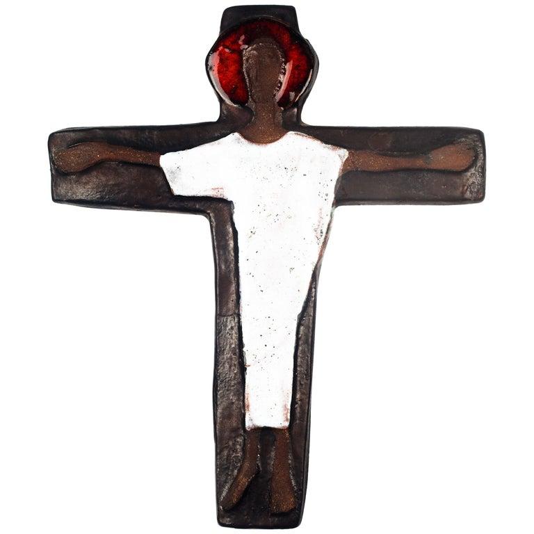 Wall Cross in Ceramic, Brown, White, Red, Handmade in Belgium, 1970s