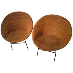 Pair of Mid-Century Modern Iron and Rattan Hoop Lounge Chairs