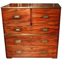 19th Century Mahogany Campaign Chest of Drawers