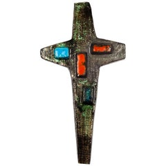 Wall Cross, Green, Brown, Red Ceramic, Handmade in Belgium, 1950s