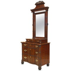 English Regency Style Rosewood Gothic Design Chest of Drawers