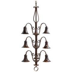 Wrought Iron Bell Chandelier, circa 1940