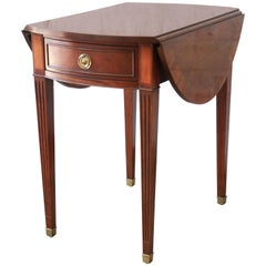 Baker Furniture Mahogany and Inlaid Satinwood Drop-Leaf Side Table