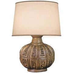Scandinavian Oval Stoneware Lamp with Low Relief Geometric Design