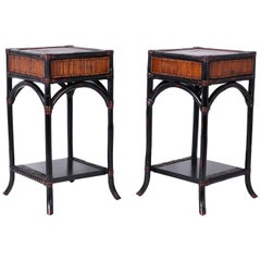 Pair of Vintage Faux Bamboo and Rattan Stands