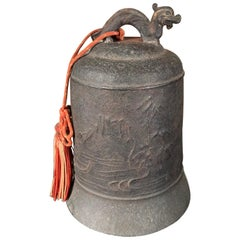"""Japanese Old Hand Cast """"Dragon"""" Temple Bell Resonates Serene Sound"""