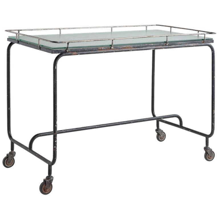 Iron and Frosted Glass Potting Table, circa 1920 For Sale