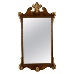 Antique Wall Mirror, English, Victorian Vanity, Walnut, Gilded Decoration