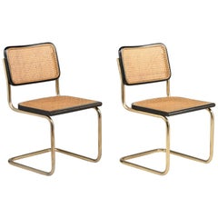Pair of Rare Gilt Metal Cantilever Chairs by Marcel Breuer, circa 1928