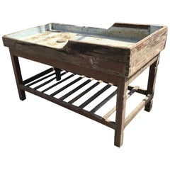 Italian Butcher Counter with Zinc Top and Wood Base from 1950s