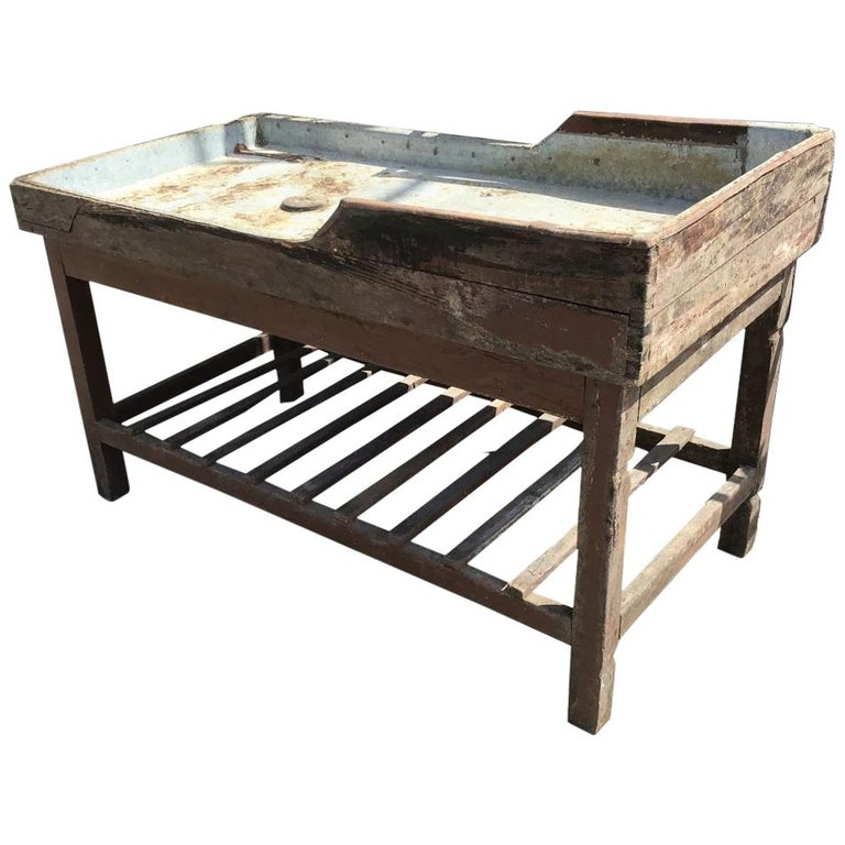 Italian Butcher Counter with Zinc Top and Wood Base from 1950s For Sale