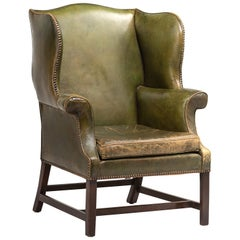 Green Leather Wingback Chair, circa 1920