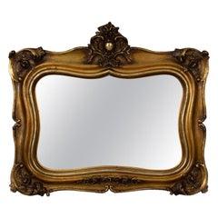 Antique Wall Mirror, Mid-Sized, Italian, Gilt Frame, Vanity, 19th Century