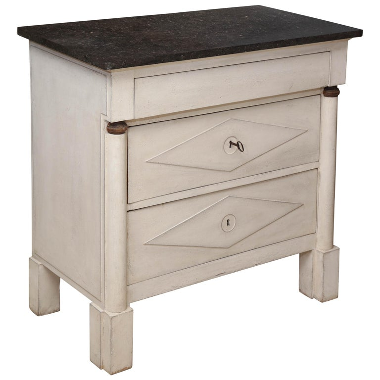 Painted White Directoire Style Commode with Black Marble Top, France, circa 1930
