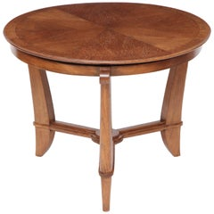 French Art Deco Circular Oak Side Table with Shaped Legs
