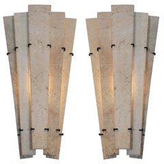Pair French Travertine Marble Sconces