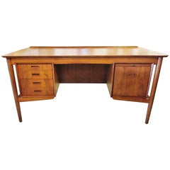 Danish Modern Teak Desk with Bookcase Back, Arne Vodder