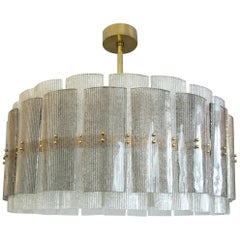 Large Drum Chandelier in Grey