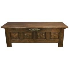 19th Century Rustic Breton Chesnut Bench Coffer