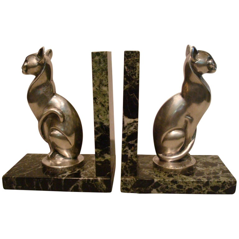Art Deco Becquerel Cat Silvered Bronze Bookends, France, 1920 For Sale