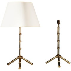 Pair of Bamboo Simulated Brass Table Lamps