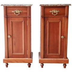 19th Century Victorian Walnut Marble-Top Nightstands, Pair