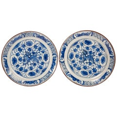 Pair of Blue and White Delft Plates with Dragons
