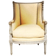 French Louis XVI Style Bergere with a Painted Finish