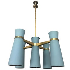 Vintage 1960s Architectural Italian Enamel and Brass Chandelier, Stilnovo Style