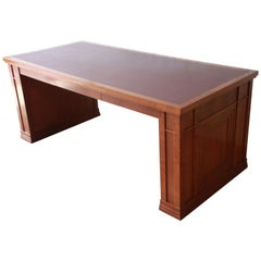 Dunbar Cherry Wood Leather Top Desk or Library Table